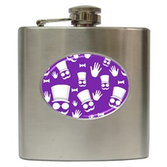 Gentleman Pattern   Purple And White Hip Flask (6 Oz) by Valentinaart