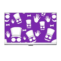 Gentleman Pattern   Purple And White Business Card Holders