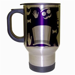 Gentleman Pattern   Purple And White Travel Mug (silver Gray) by Valentinaart