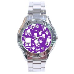 Gentleman Pattern   Purple And White Stainless Steel Analogue Watch by Valentinaart