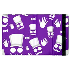 Gentleman Pattern   Purple And White Apple Ipad 2 Flip Case by Valentinaart