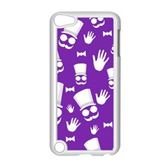 Gentleman Pattern   Purple And White Apple Ipod Touch 5 Case (white) by Valentinaart