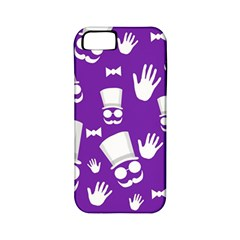 Gentleman Pattern   Purple And White Apple Iphone 5 Classic Hardshell Case (pc+silicone)
