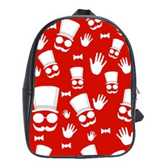 Gentlemen   Red And White Pattern School Bags(large)  by Valentinaart