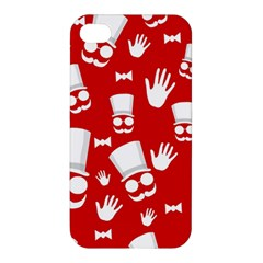 Gentlemen   Red And White Pattern Apple Iphone 4/4s Premium Hardshell Case