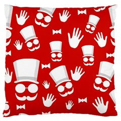 Gentlemen   Red And White Pattern Large Cushion Case (two Sides)