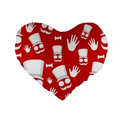 Gentlemen   Red And White Pattern Standard 16  Premium Heart Shape Cushions by Valentinaart