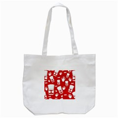 Gentlemen   Red And White Pattern Tote Bag (white) by Valentinaart