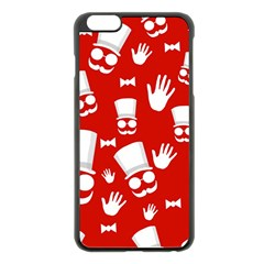 Gentlemen   Red And White Pattern Apple Iphone 6 Plus/6s Plus Black Enamel Case