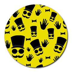 Gentlemen   Yellow Pattern Round Mousepads by Valentinaart