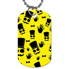 Gentlemen   Yellow Pattern Dog Tag (one Side) by Valentinaart