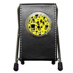 Gentlemen   Yellow Pattern Pen Holder Desk Clocks by Valentinaart