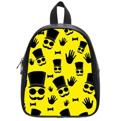 Gentlemen   Yellow Pattern School Bags (small)  by Valentinaart