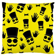 Gentlemen   Yellow Pattern Large Cushion Case (two Sides) by Valentinaart