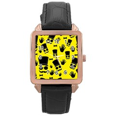 Gentlemen   Yellow Pattern Rose Gold Leather Watch