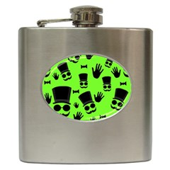 Gentleman   Green Pattern Hip Flask (6 Oz) by Valentinaart