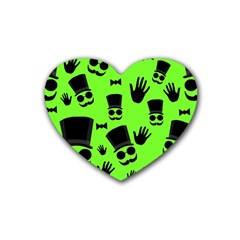 Gentleman   Green Pattern Rubber Coaster (heart)  by Valentinaart