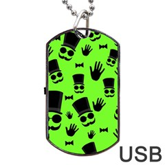 Gentleman   Green Pattern Dog Tag Usb Flash (one Side) by Valentinaart
