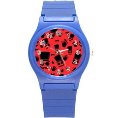 Gentlemen   Red Round Plastic Sport Watch (s)