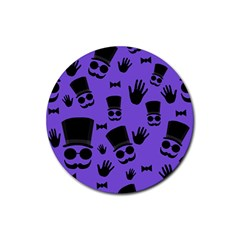 Gentleman Purple Pattern Rubber Coaster (round)  by Valentinaart