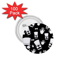 Gentleman   Black And White Pattern 1 75  Buttons (100 Pack)  by Valentinaart