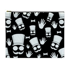 Gentleman   Black And White Pattern Cosmetic Bag (xl)