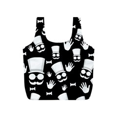 Gentleman   Black And White Pattern Full Print Recycle Bags (s)  by Valentinaart