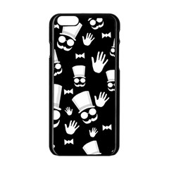 Gentleman   Black And White Pattern Apple Iphone 6/6s Black Enamel Case by Valentinaart