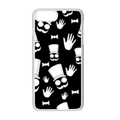 Gentleman   Black And White Pattern Apple Iphone 7 Plus White Seamless Case by Valentinaart