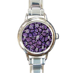 Skin1 Black Marble & Purple Marble Round Italian Charm Watch by trendistuff