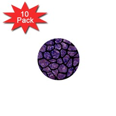 Skin1 Black Marble & Purple Marble 1  Mini Button (10 Pack)  by trendistuff