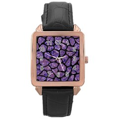 Skin1 Black Marble & Purple Marble Rose Gold Leather Watch  by trendistuff