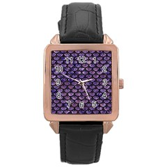 Scales3 Black Marble & Purple Marble (r) Rose Gold Leather Watch  by trendistuff