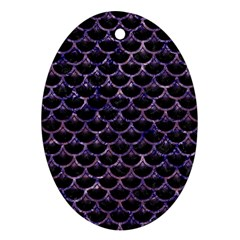 Scales3 Black Marble & Purple Marble Oval Ornament (two Sides) by trendistuff
