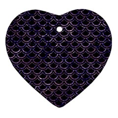 Scales2 Black Marble & Purple Marble Ornament (heart)