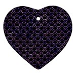 SCALES2 BLACK MARBLE & PURPLE MARBLE Ornament (Heart) Front