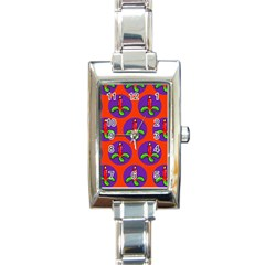 Christmas Candles Seamless Pattern Rectangle Italian Charm Watch by Amaryn4rt