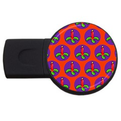 Christmas Candles Seamless Pattern Usb Flash Drive Round (2 Gb)