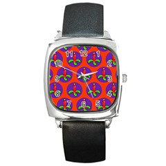 Christmas Candles Seamless Pattern Square Metal Watch