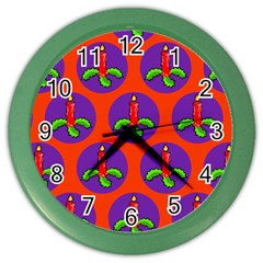 Christmas Candles Seamless Pattern Color Wall Clocks