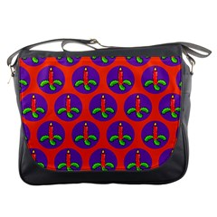 Christmas Candles Seamless Pattern Messenger Bags by Amaryn4rt
