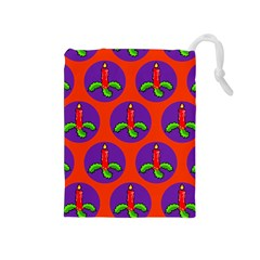 Christmas Candles Seamless Pattern Drawstring Pouches (medium)