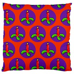 Christmas Candles Seamless Pattern Large Flano Cushion Case (two Sides)