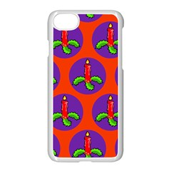 Christmas Candles Seamless Pattern Apple Iphone 7 Seamless Case (white)