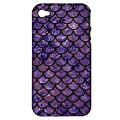 Scales1 Black Marble & Purple Marble (r) Apple Iphone 4/4s Hardshell Case (pc+silicone) by trendistuff