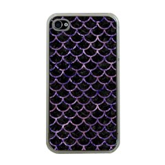 Scales1 Black Marble & Purple Marble Apple Iphone 4 Case (clear) by trendistuff