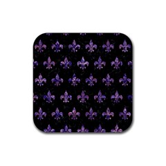 Royal1 Black Marble & Purple Marble (r) Rubber Square Coaster (4 Pack) by trendistuff