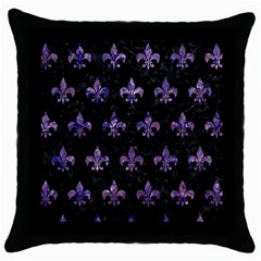 Royal1 Black Marble & Purple Marble (r) Throw Pillow Case (black) by trendistuff