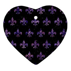 Royal1 Black Marble & Purple Marble (r) Heart Ornament (two Sides) by trendistuff