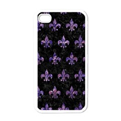 Royal1 Black Marble & Purple Marble (r) Apple Iphone 4 Case (white) by trendistuff